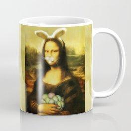 Easter Mona Lisa with Whiskers and Bunny Ears Coffee Mug