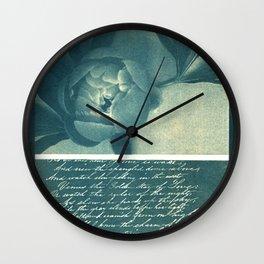 Peony and Poem, collage, blue print, wall art, wall decor, home decor, cyanotype Wall Clock