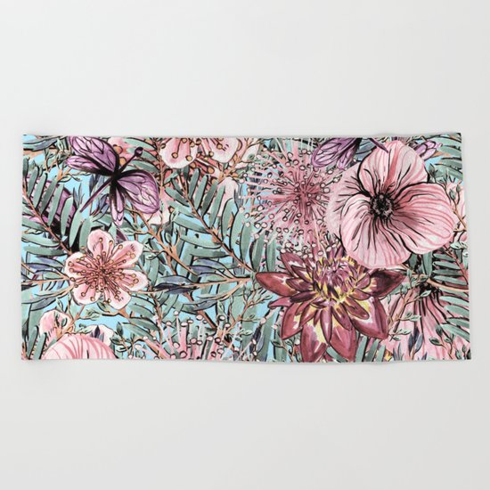 Spa Towels By Kassafina: Tropical Pastel Pink Flower Hibiscus Garden On #Society6