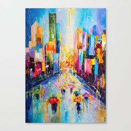 RAINING IN THE CITY Canvas Print