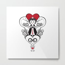 Queen of Hearts  | black, white and red Metal Print