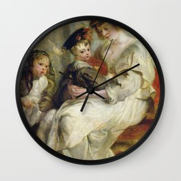 Peter Paul Rubens - Helene Fourment  With Two Of Her Children. Wall Clock