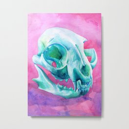 wildcat skull watercolor painting Metal Print