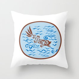 Medieval Fish Swimming Oval Retro Throw Pillow