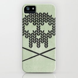 Knitted Skull / Knitting with Attitude (Black on Greenish Grey) iPhone Case