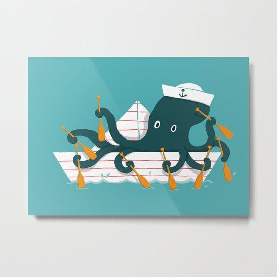 Sailor Octopus Metal Print