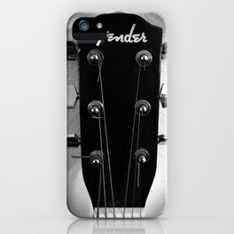 VINTAGE ACOUSTIC GUITAR HEAD B&W PHOTOGRAPHY iPhone Case