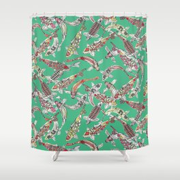 lucky koi green Shower Curtain