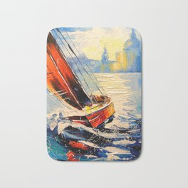 Yacht in the wind Bath Mat