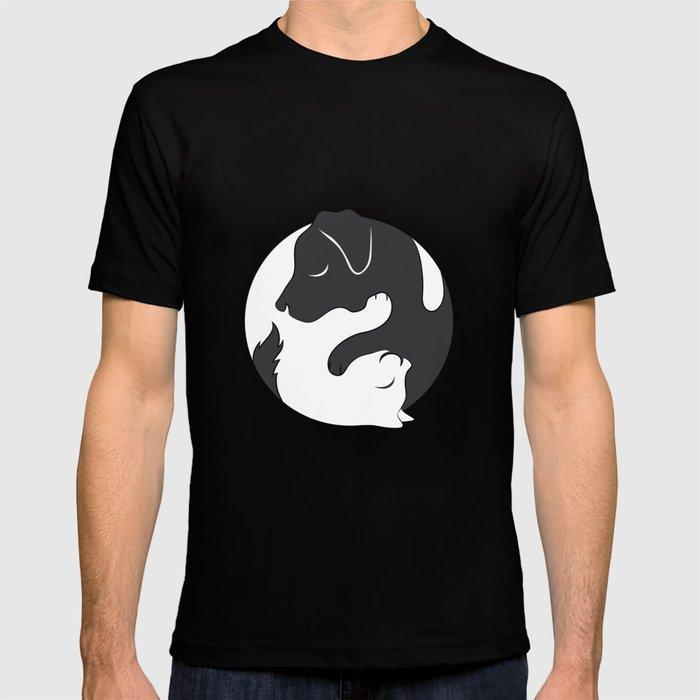 93534d8619 Yin Yang Dog Cat Couple Matching Cartoon Shirt Men Womens T-shirt by ...