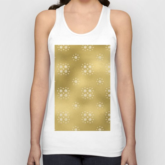 Merry christmas- white winter stars on gold pattern I Unisex Tank Top