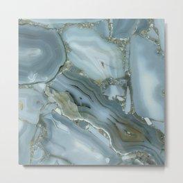 Slate Blue Lace Agate Metal Print