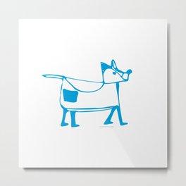 Funny dog white-blue pattern Metal Print