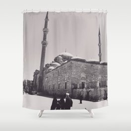 Istanbul mosque photo, black & white fine art, Turkey photography, Middle East Shower Curtain