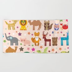 Set of funny cartoon animals character on pink seamless background. zoo. Vector Beach Towel