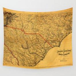 Map of North & South Carolina (1865) Wall Tapestry
