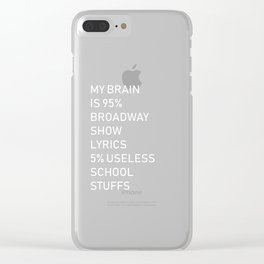 Hilarious My Brain is 95% Show Lyrics Men Women Tee Shirt Humor 5% Useless School Stuffs Quote T Clear iPhone Case