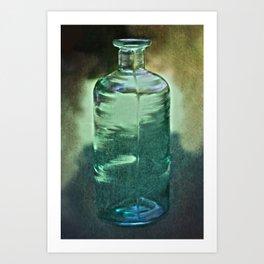 vintage green glass bottle Art Print