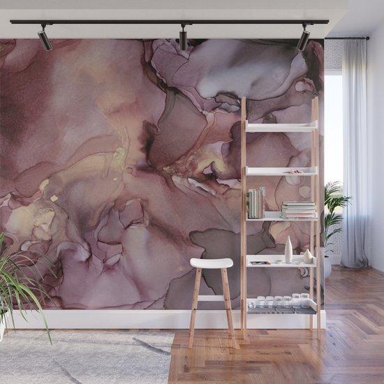Ink Swirls Painting Lavender Plum Gold Flow by olechka