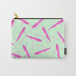 Modern neon pink green girly cute funny alligator pattern Carry-All Pouch