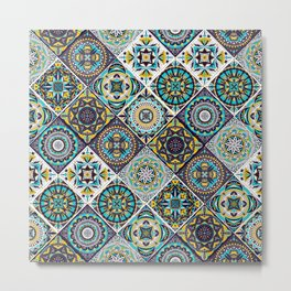 Blue and yellow hand drawn tile pattern Metal Print