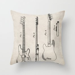 Bass Guitar Patent - Bass Guitarist Art - Antique Throw Pillow