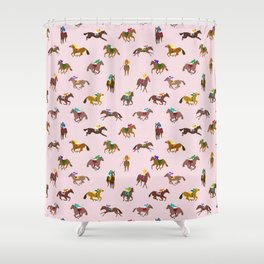 Off to the Horse Races (Pink) Shower Curtain