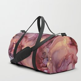 Crimson Red and Gold Flowy Ink Painting Duffle Bag