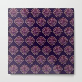 Violet & Gold Scallop Shell Pattern Metal Print