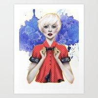 sasha grey Art Prints featuring Sasha by Laura Tanuwidjaya