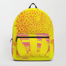 Yellow Sunflower on a Fuchsia Psychedelic Swirl Backpack