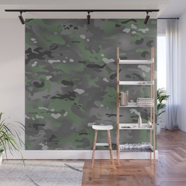 Camouflage: Arctic Green and Grey Wall Mural