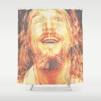 the dude Shower Curtains featuring The Dude by Robotic Ewe
