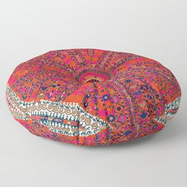 Pink Wildflower Sunshine II // 18th Century Colorful Pinkish Red Blue Sapphire Metallic Happy Patter Floor Pillow