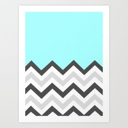 Color Blocked Chevron 16 Art Print