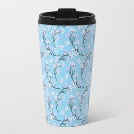 Abstract pastel pink blue gray white floral Travel Mug