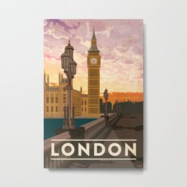 London, England Travel Poster Metal Print