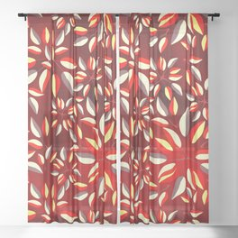 Duo-Toned Leaf pattern 2 (Red) Sheer Curtain