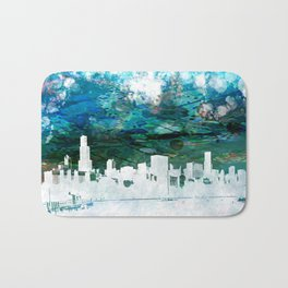 The Chicago Skyline viewed from Shedd Aquarium in an Abstract Watercolor Bath Mat