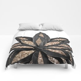 Gray Black Agave with Gold Glitter #2 #shiny #tropical #decor #art #society6 Comforters