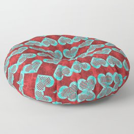 Abstract Turquoise and Bright Red Diamond Hearts Floor Pillow