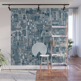 space city mono blue Wall Mural