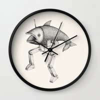 evolution Wall Clocks featuring 'Evolution I' by Alex G Griffiths