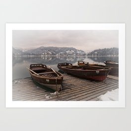 Rowing Boats At The Lake Bled Art Print