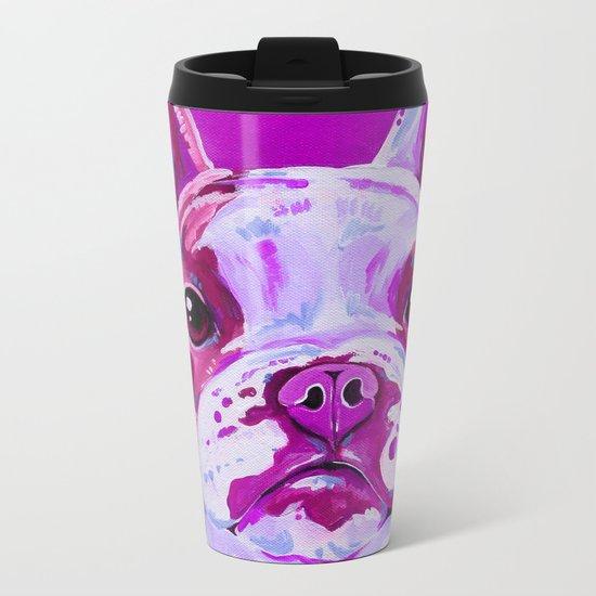 Frenchie in Pink Metal Travel Mug