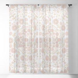Chrysanthemum Mandala, peach and gold Sheer Curtain