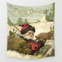 Vintage Santa retro xmas illustration Wall Tapestry