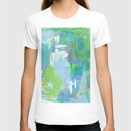 Green and Blue Abstract Art, Turquoise Gray Blue White Painting, Green Artwork T-shirt