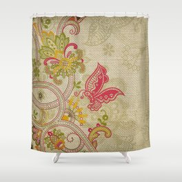 Raw Linen Texture Vines and Flowers // Art Nouveau Butterfly Shower Curtain