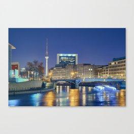 Berlin. Spree at night Canvas Print